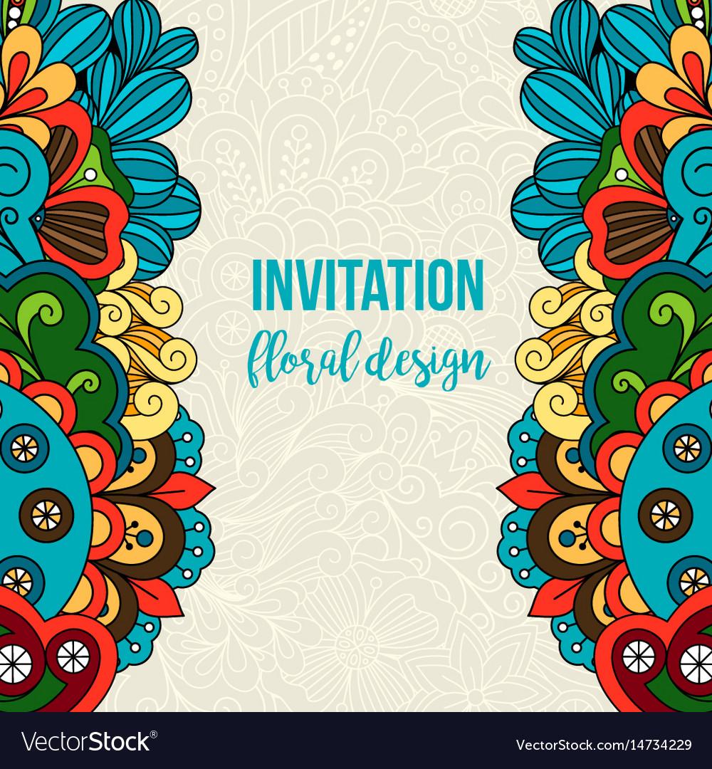 Universal invitation floral doodle ornament card