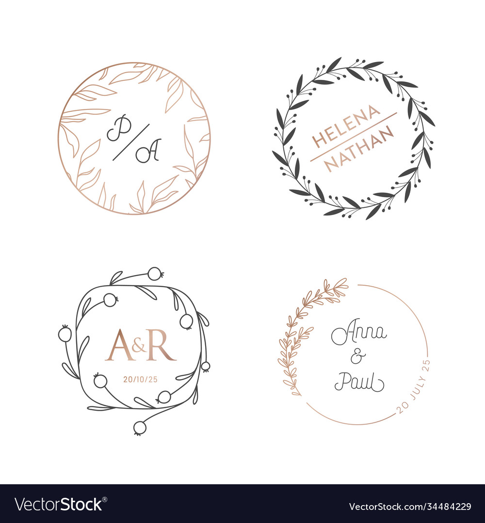 Wedding wreaths circle laurels logos vintage