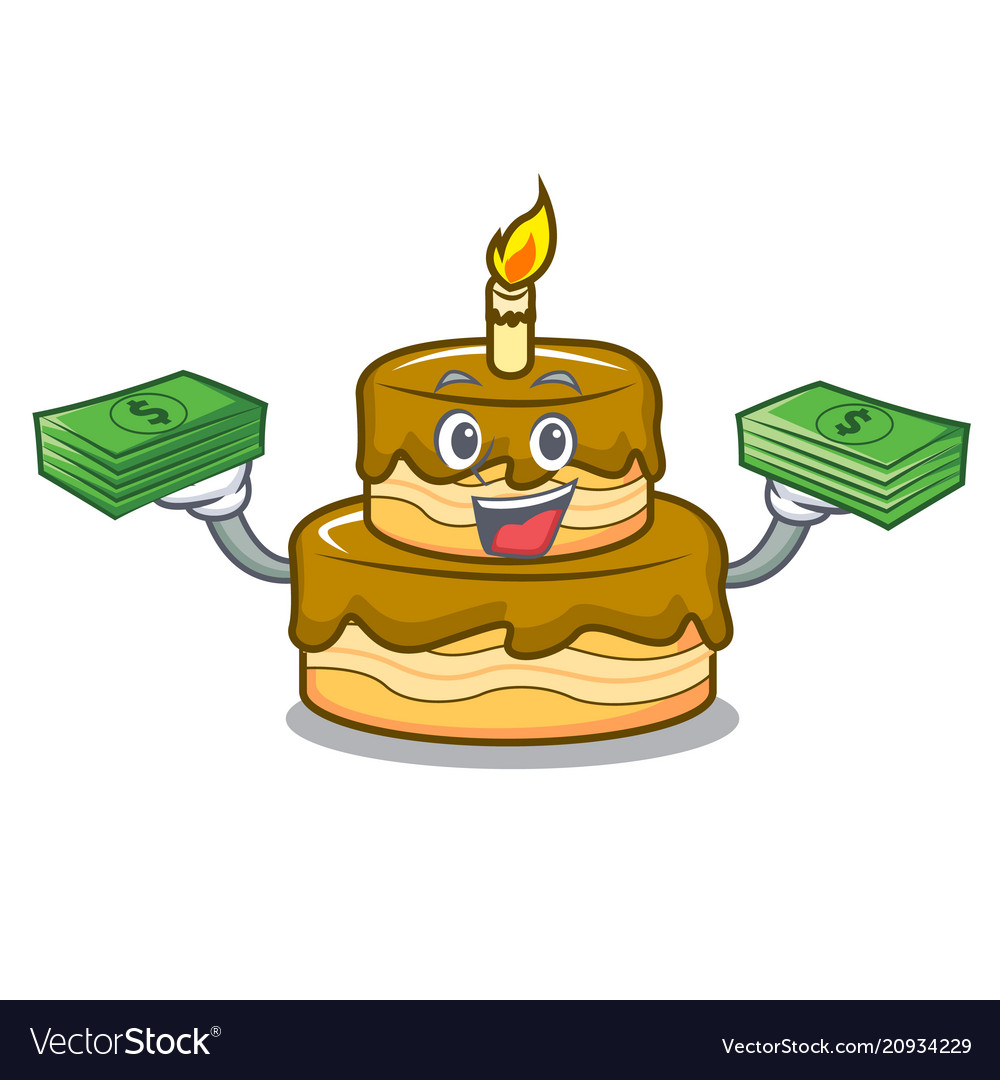 Brilliant With Money Bag Birthday Cake Mascot Cartoon Vector Image Funny Birthday Cards Online Kookostrdamsfinfo