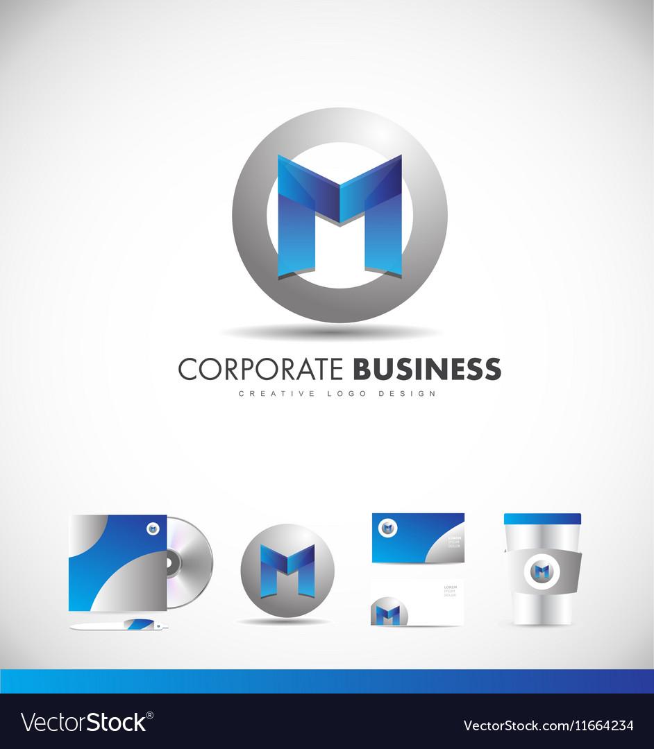 Alphabet letter M corporate logo vector image