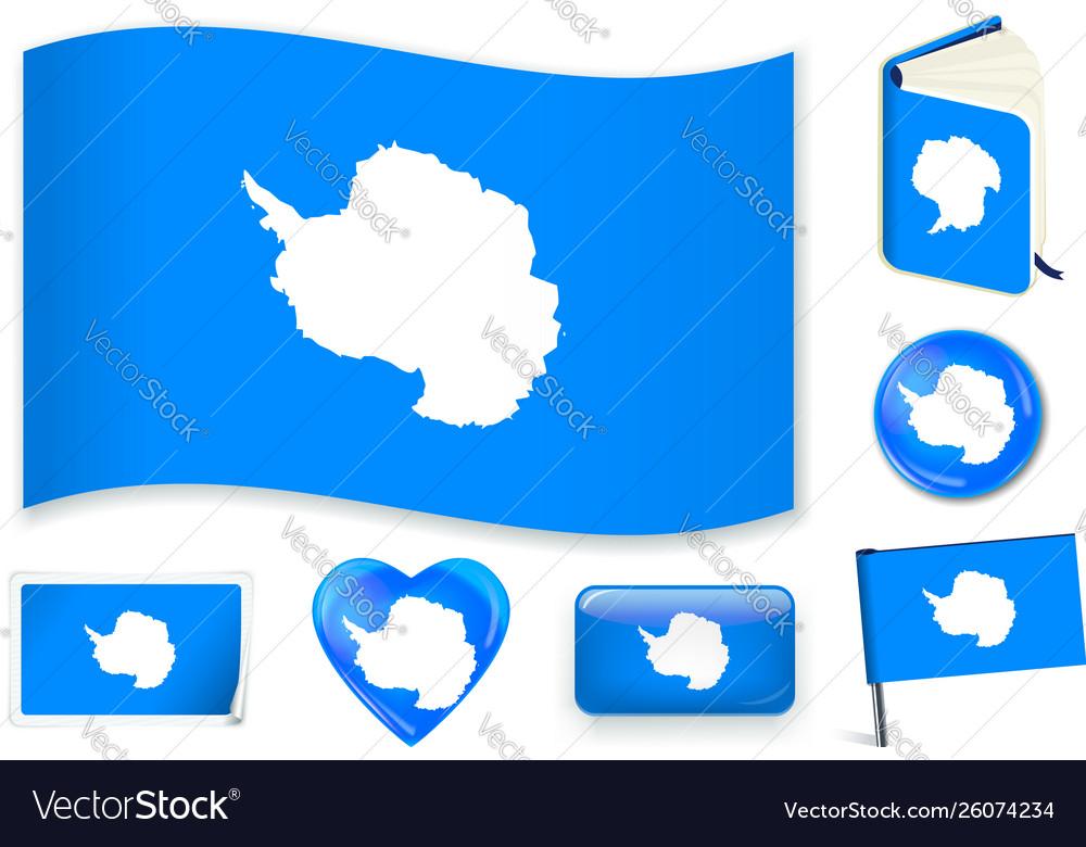 Antarctica flag wave book circle pin button
