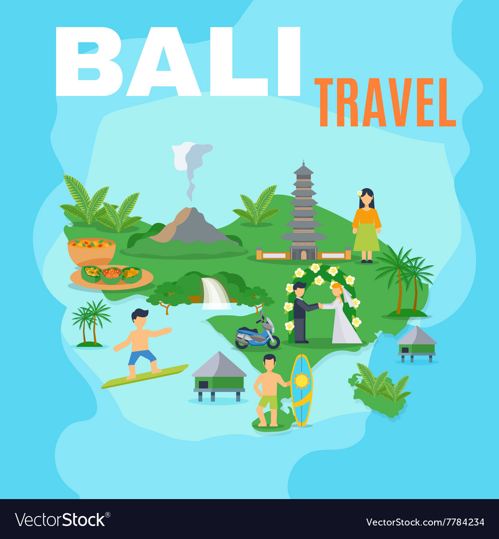 Background Map Bali Travel Royalty Free Vector Image