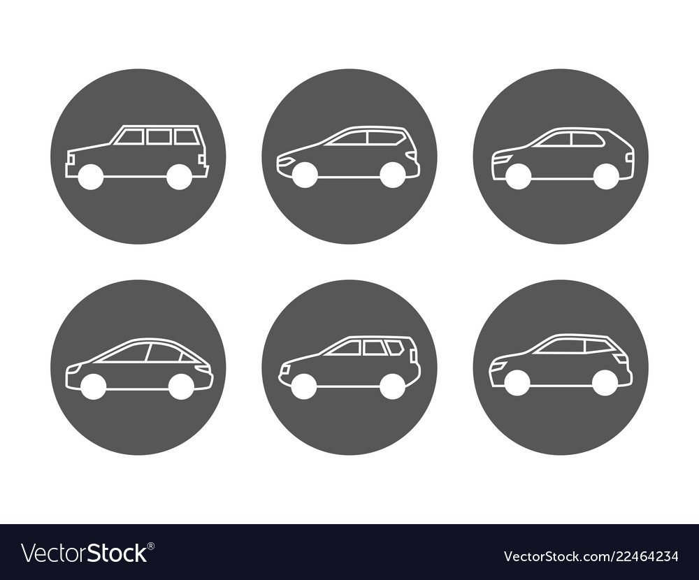 Cars line icons set side view auto icons