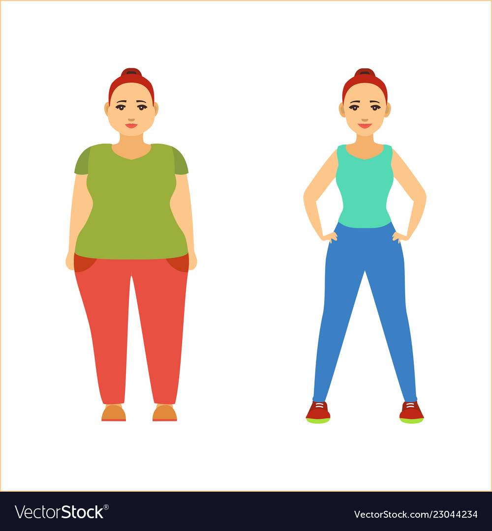 Cartoon Color Characters Woman Set Losing Weight Vector Image