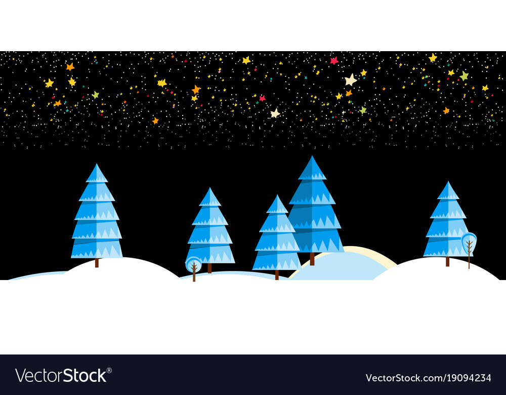 Christmas background with winter night landscape