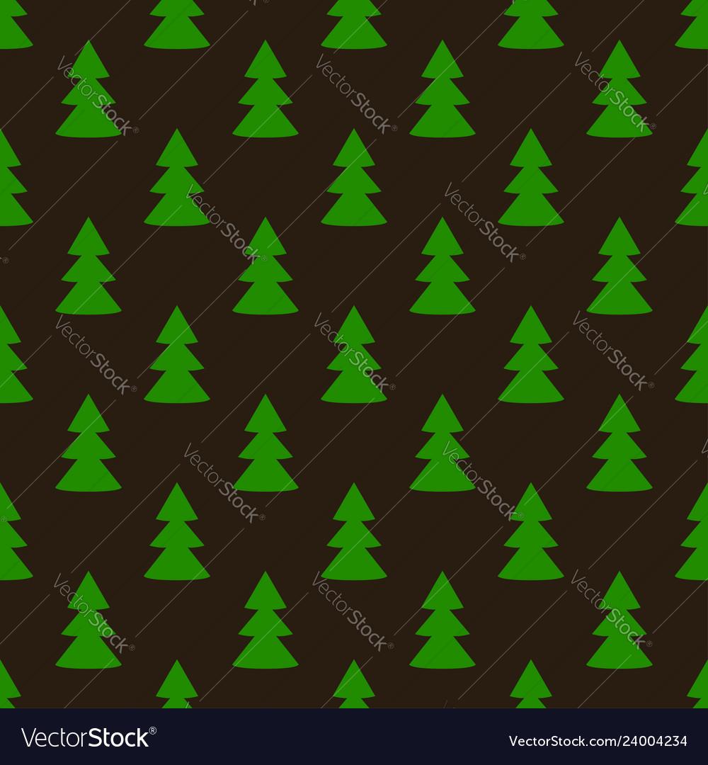 Christmas fir tree green dark art seamless pattern