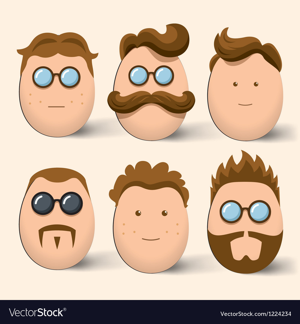 Egg characters face set