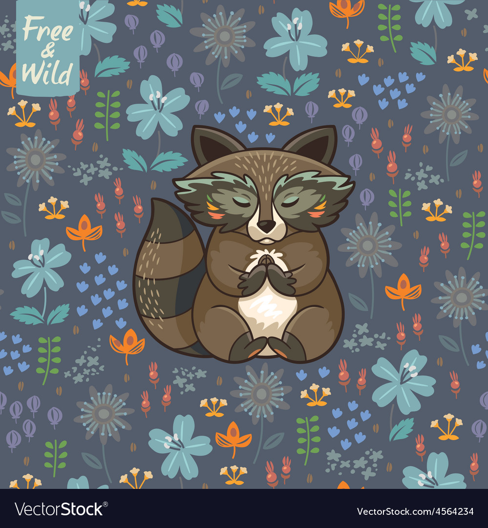 Funny little raccoon meditates on the meadow