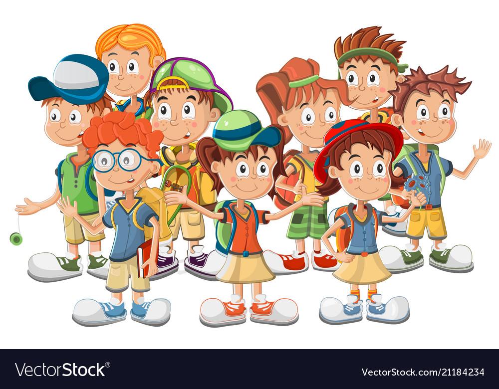 Group school children