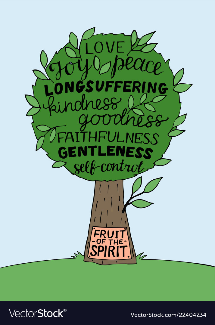 Hand Lettering With Bible Verse The Fruit Of The Vector Image