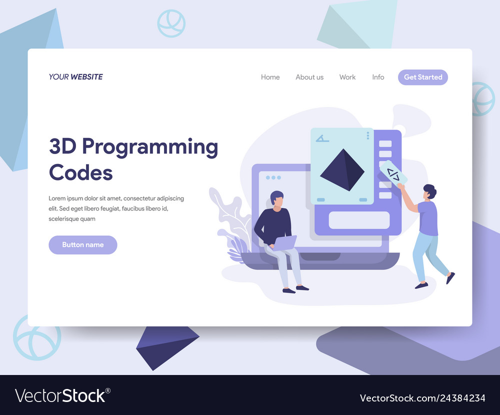 Landing page template of 3d programming codes