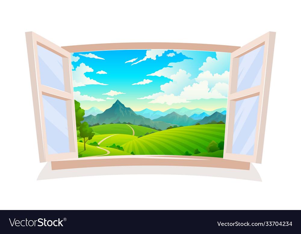 Open window view from wooden window