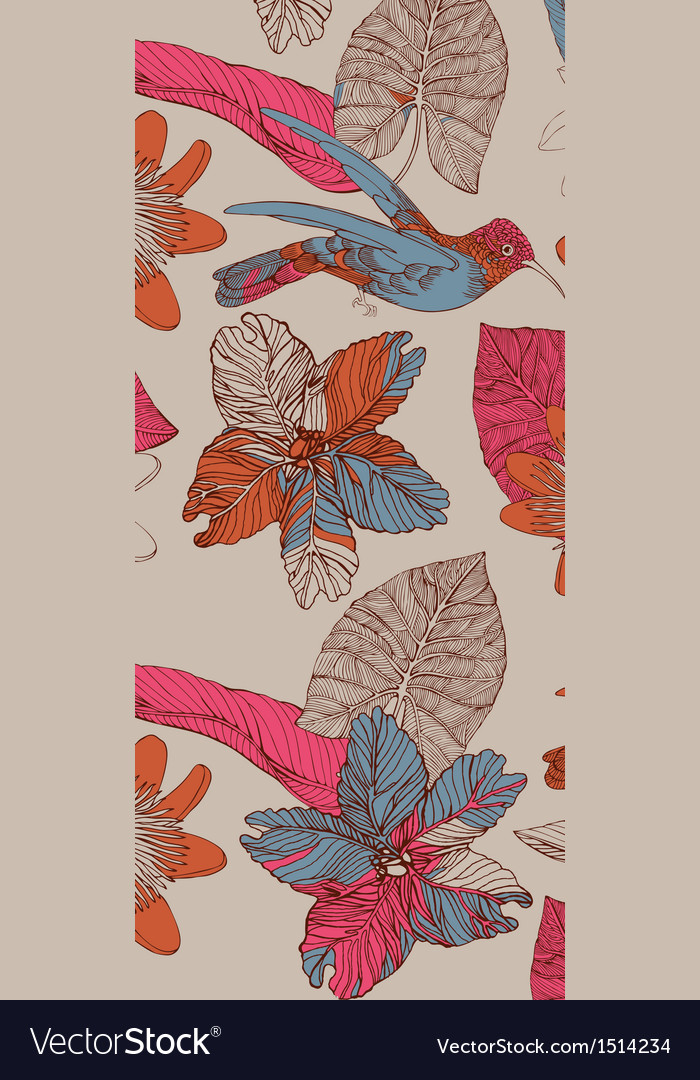 Pattern with humming birds vector image