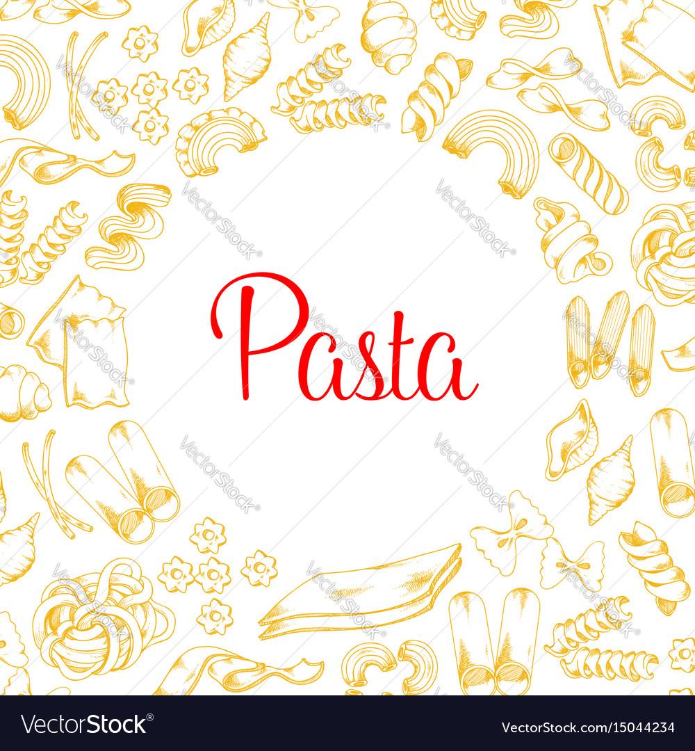Poster of pasta for italian cuisine design vector image
