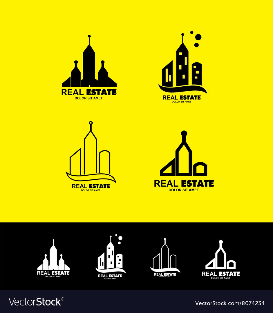 Real estate logo icon set building