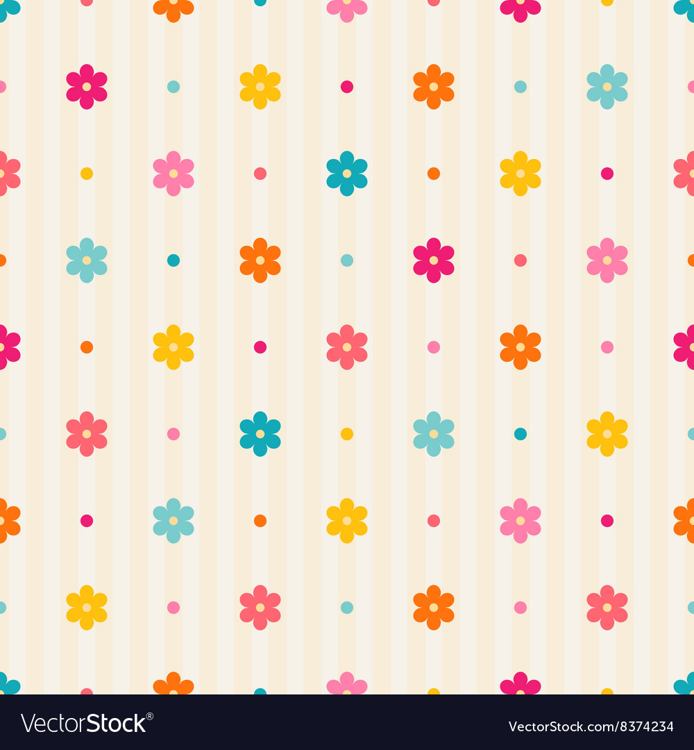 Retro seamless pattern Color flowers and dots
