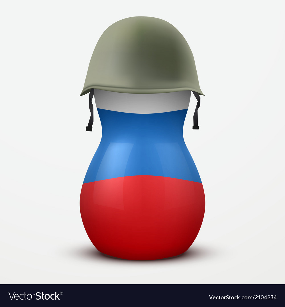 Russian matrioshka in military helmets and flag vector image