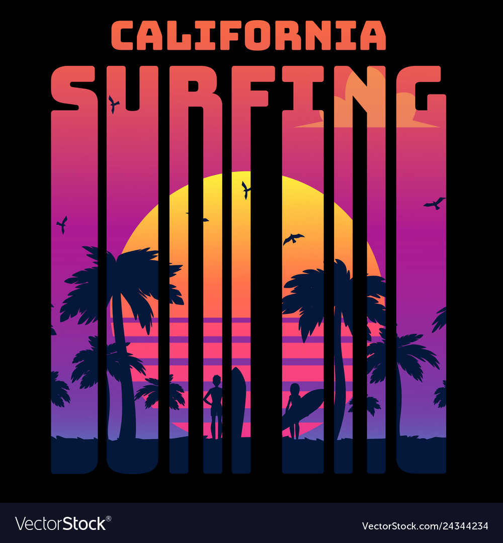 Summer tropical text california surfing with