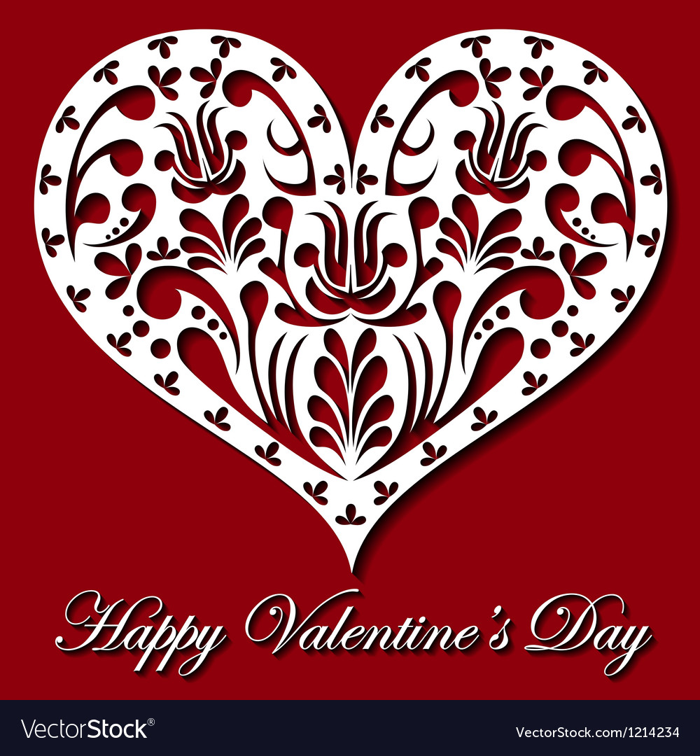 Valentine card with white lace heart vector image
