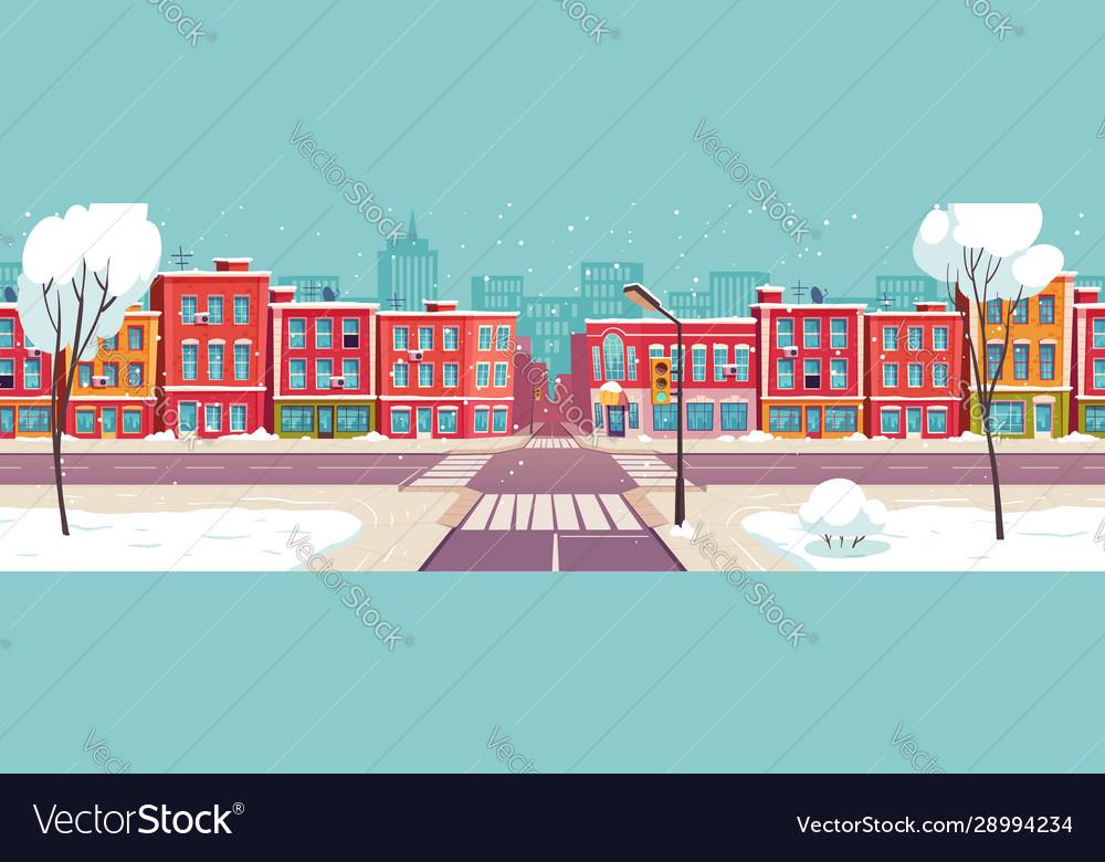 Winter city street snowy urban landscape
