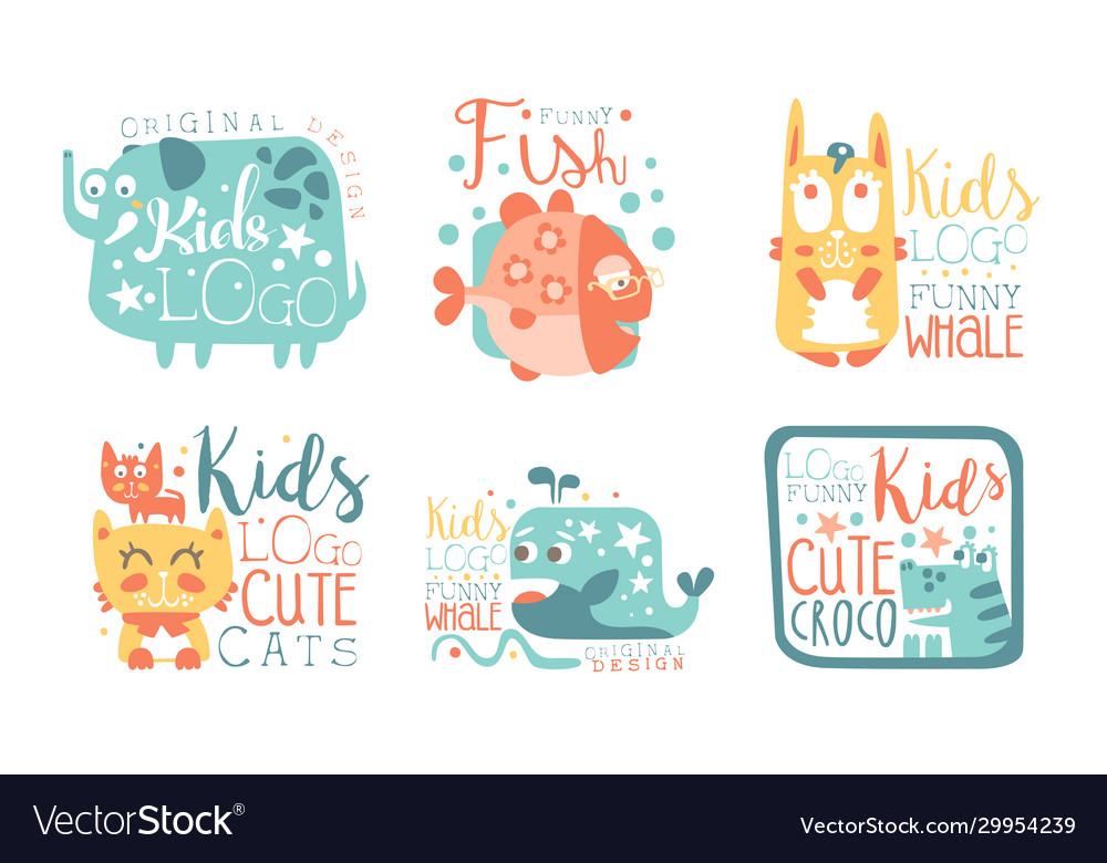 Collection kids logo design templates with cute