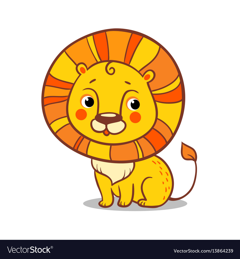Cute lion sits on a white background vector image
