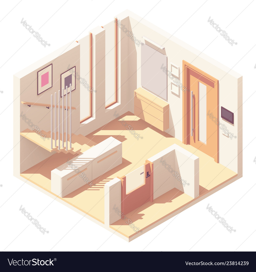 Isometric hallway with wooden staircase