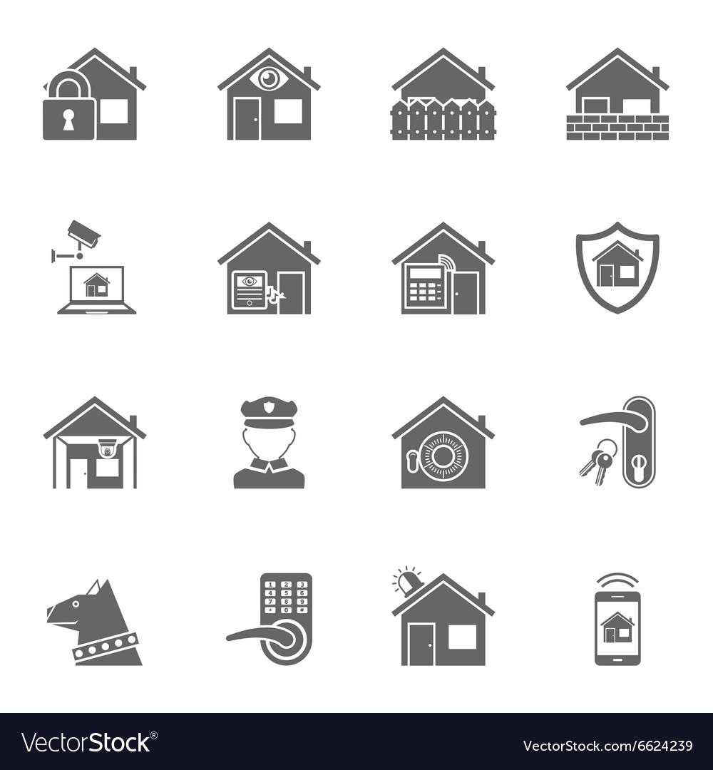 Smart home security system black icons set
