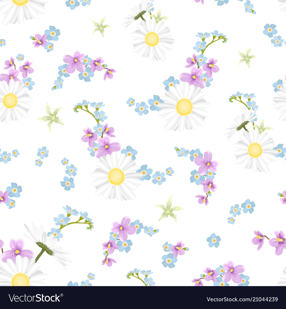 Spring summer field flowers mix seamless pattern vector image
