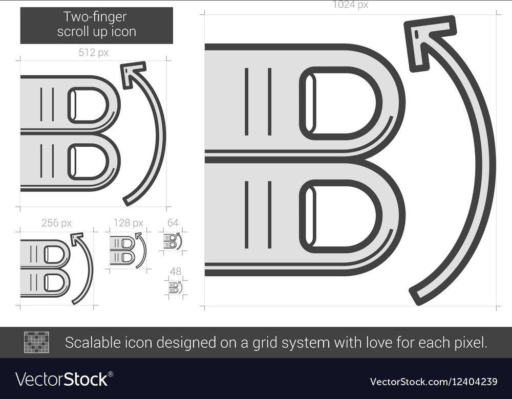 Two-finger scroll up line icon vector image