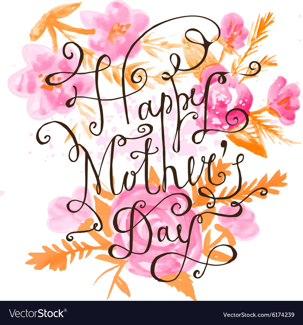 Vintage Happy Mothers Day Lettering Card