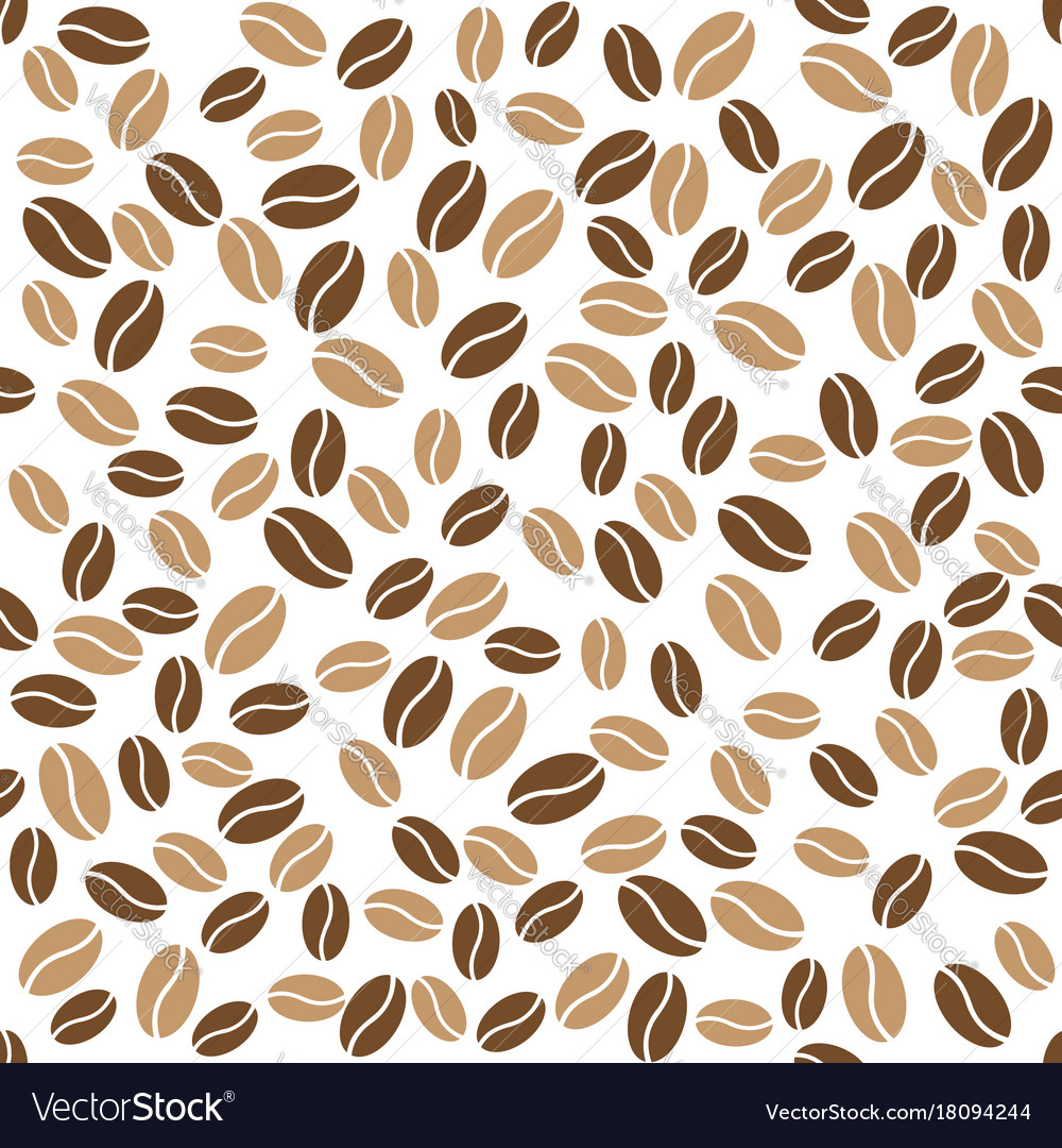 Abstract coffee beans pattern white background Vector Image