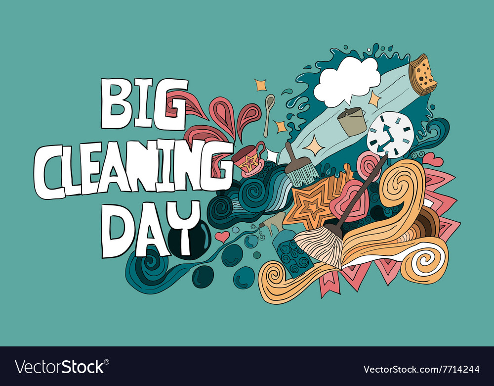 Cartoon hand drawn Doodle Big Cleaning Day