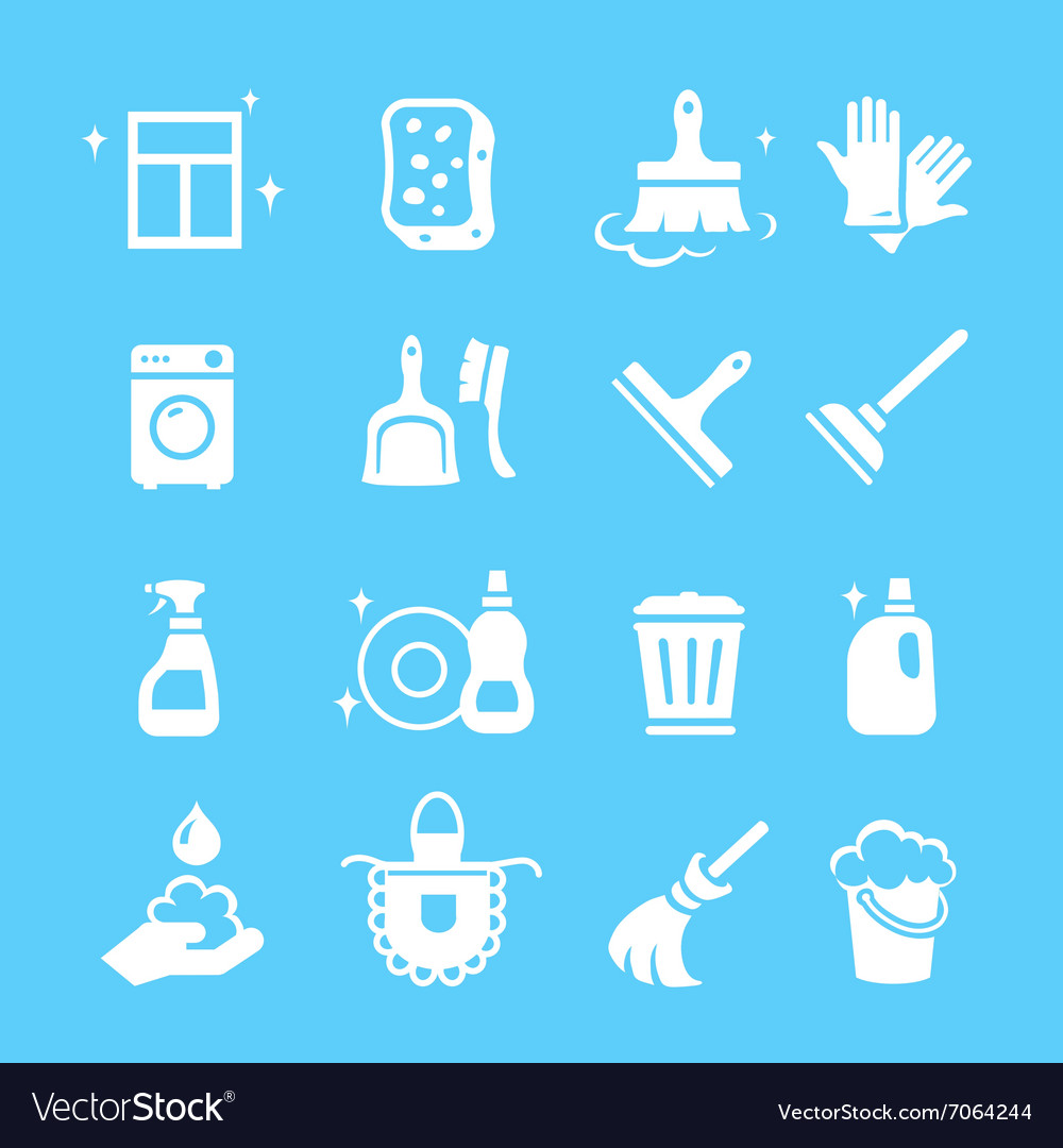 Cleaning and higiene white Icons set