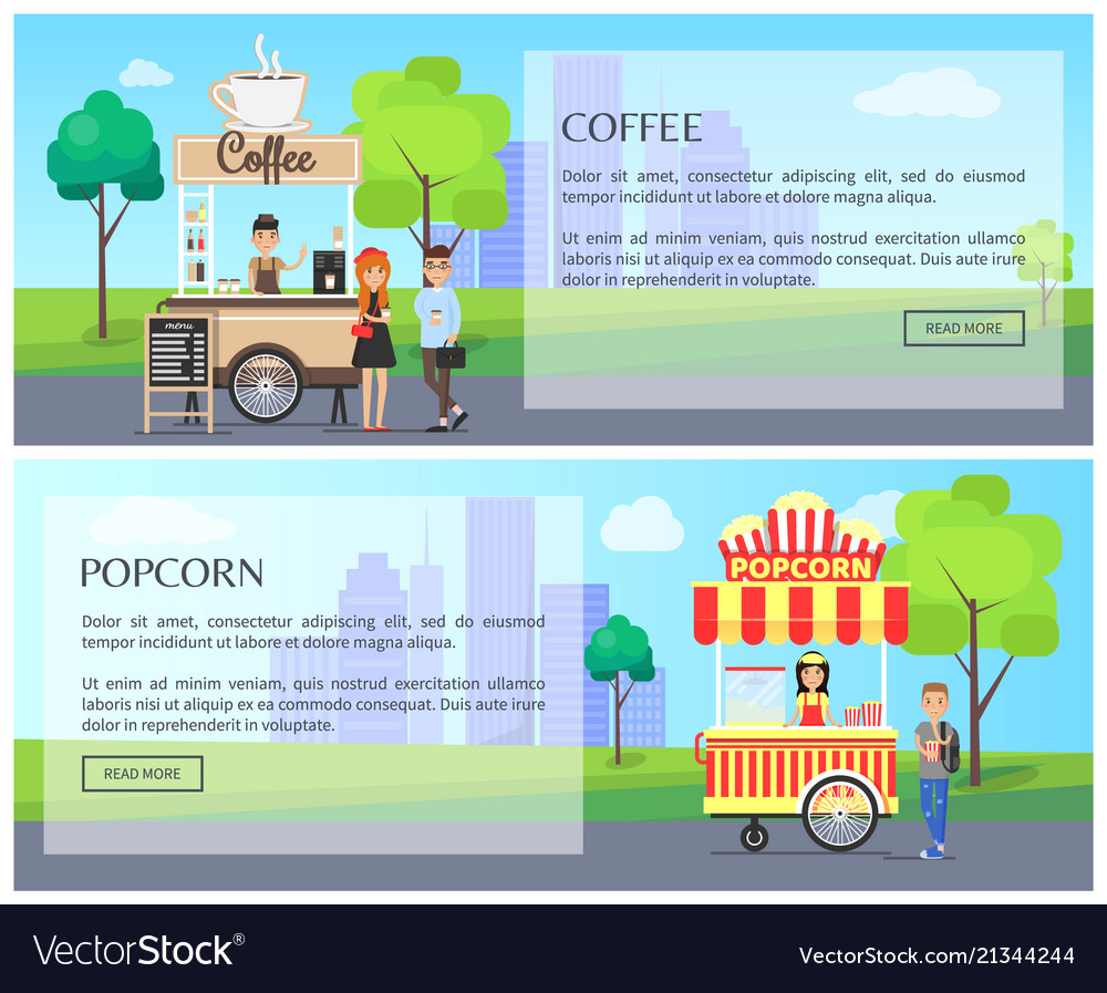 Coffee and popcorn kiosk street food posters