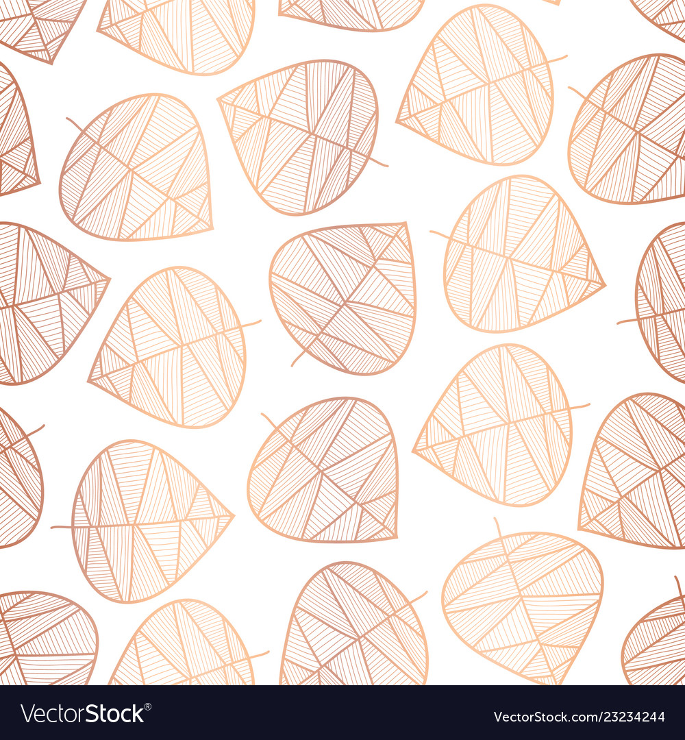 Copper foil scattered stylized leaves pattern