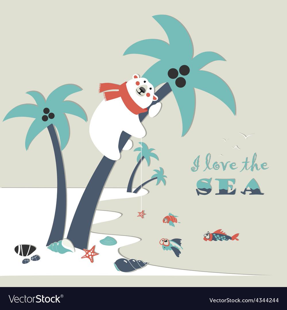 Cute polar bear climbed a palm tree vector image