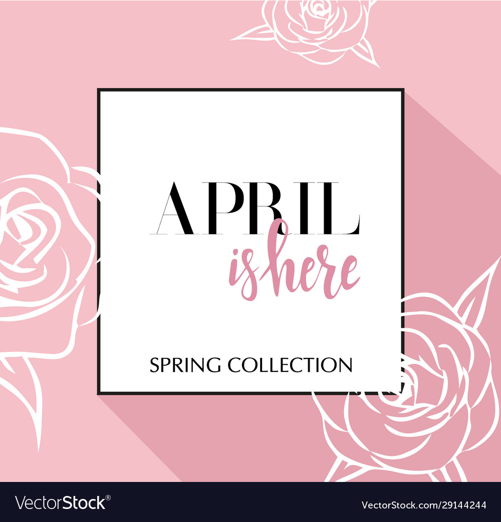 Design banner with lettering april is here logo
