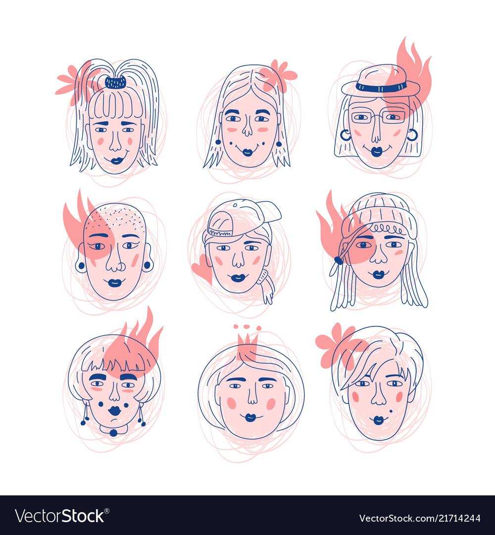Female faces icons informal girls feminism