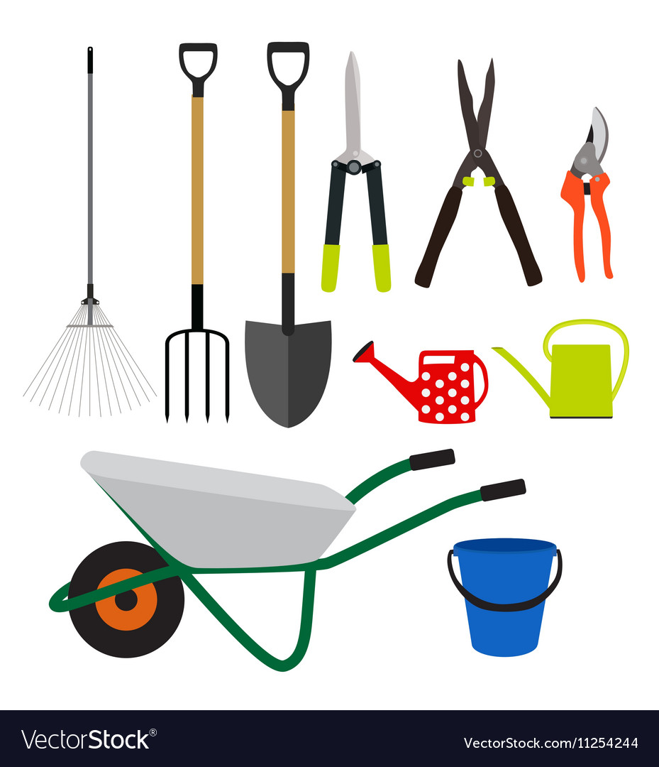 Garden Tools Instruments Flat Icon Collection Set