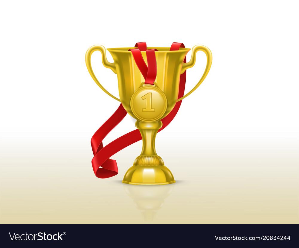 Golden goblet with gold medal winner cup