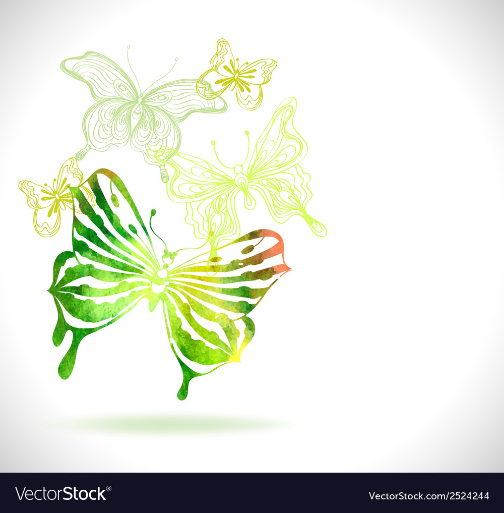 Green color background with watercolor butterflies vector image