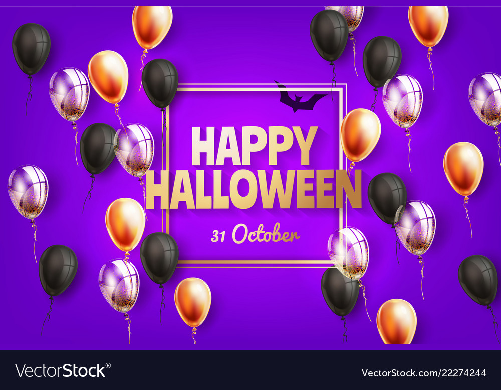 Happy halloween holiday poster with balloon