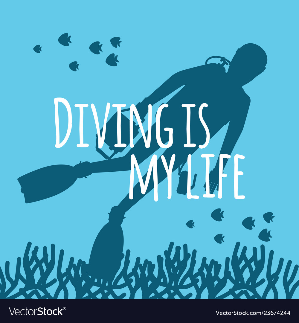 Scuba diving background with diver silhouettes