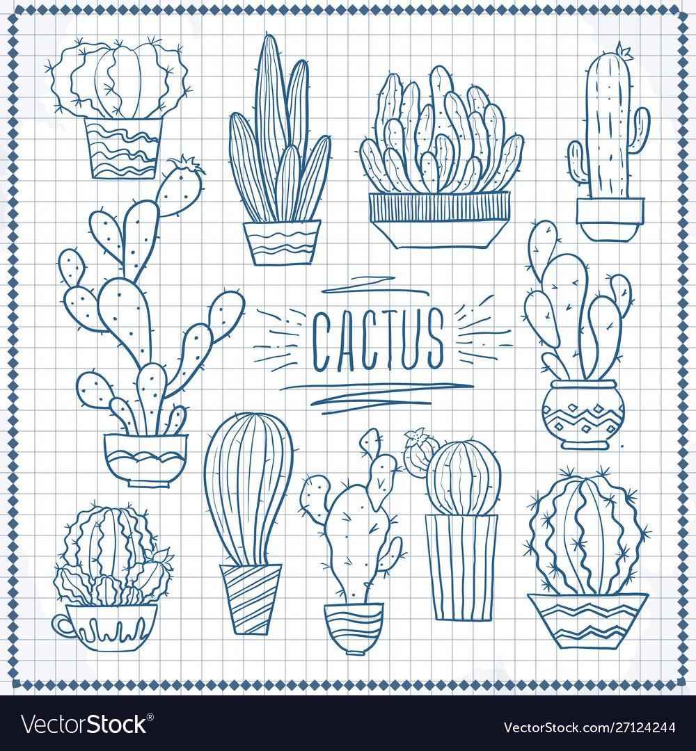 Set doodle cacti