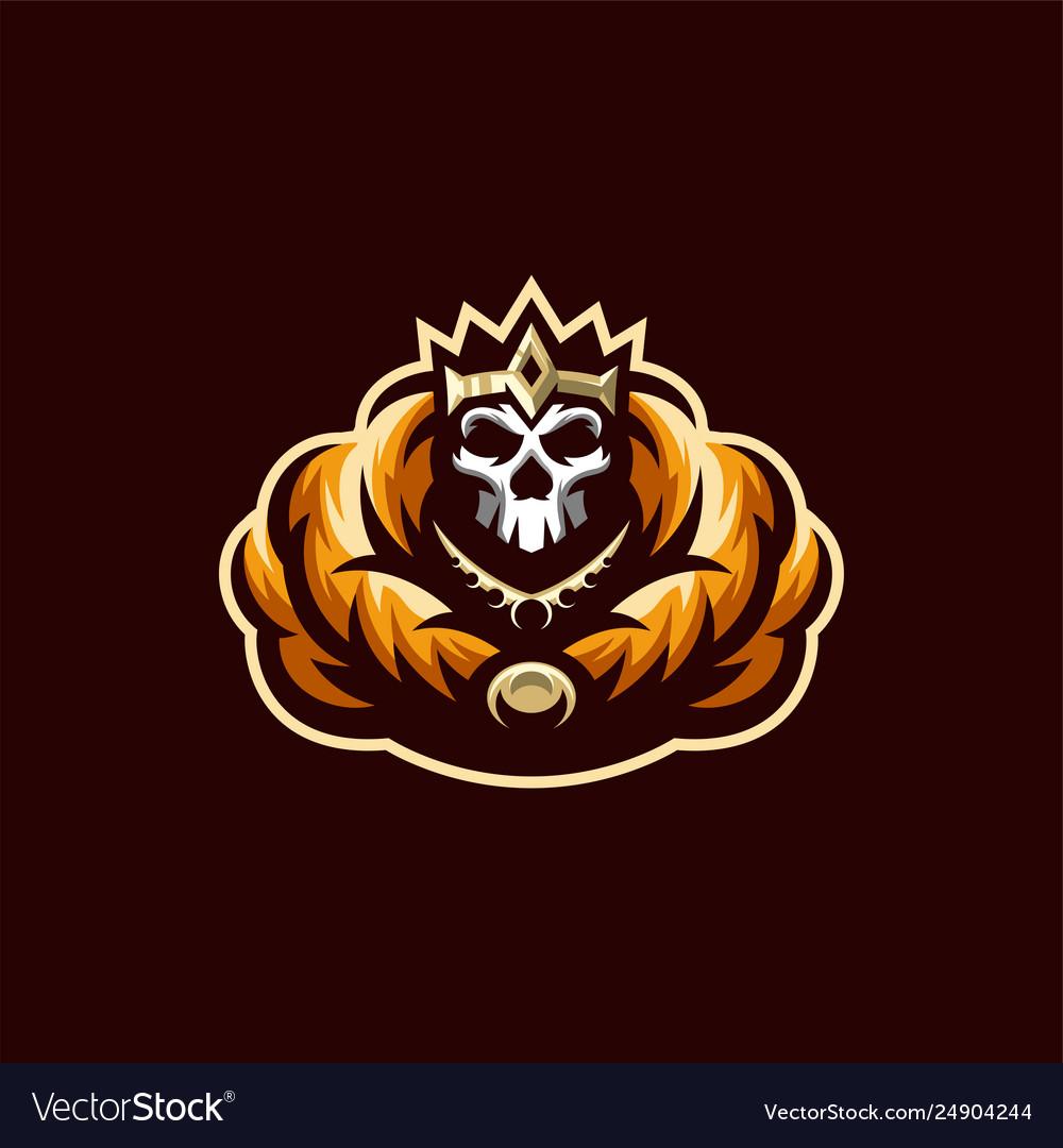 Skeleton skull logo design template