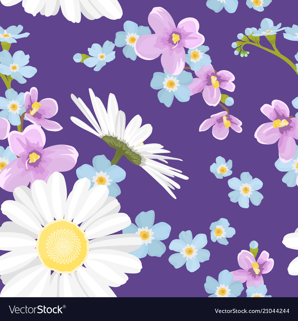 Spring summer flowers seamless pattern texture