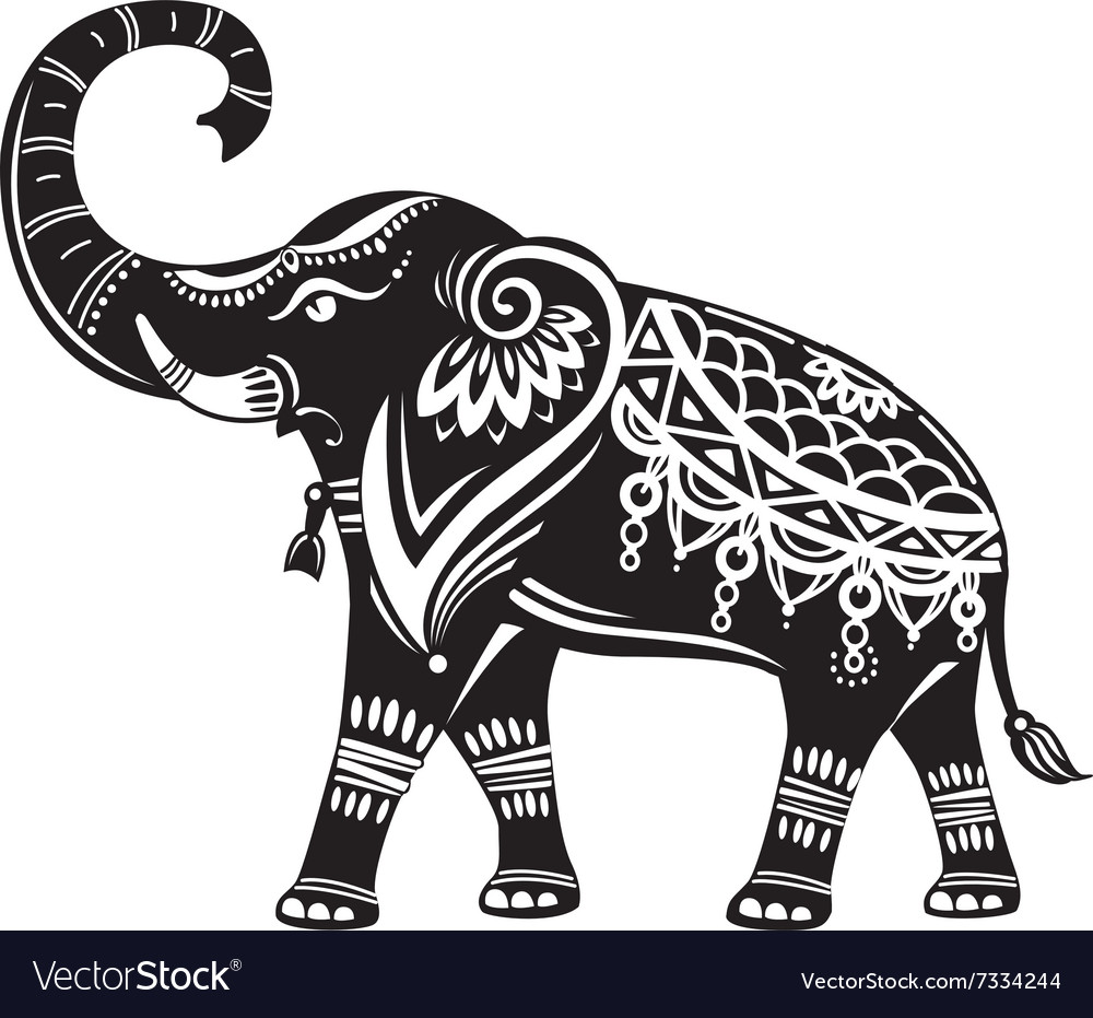 Stylized Decorated Elephant Royalty Free Vector Image