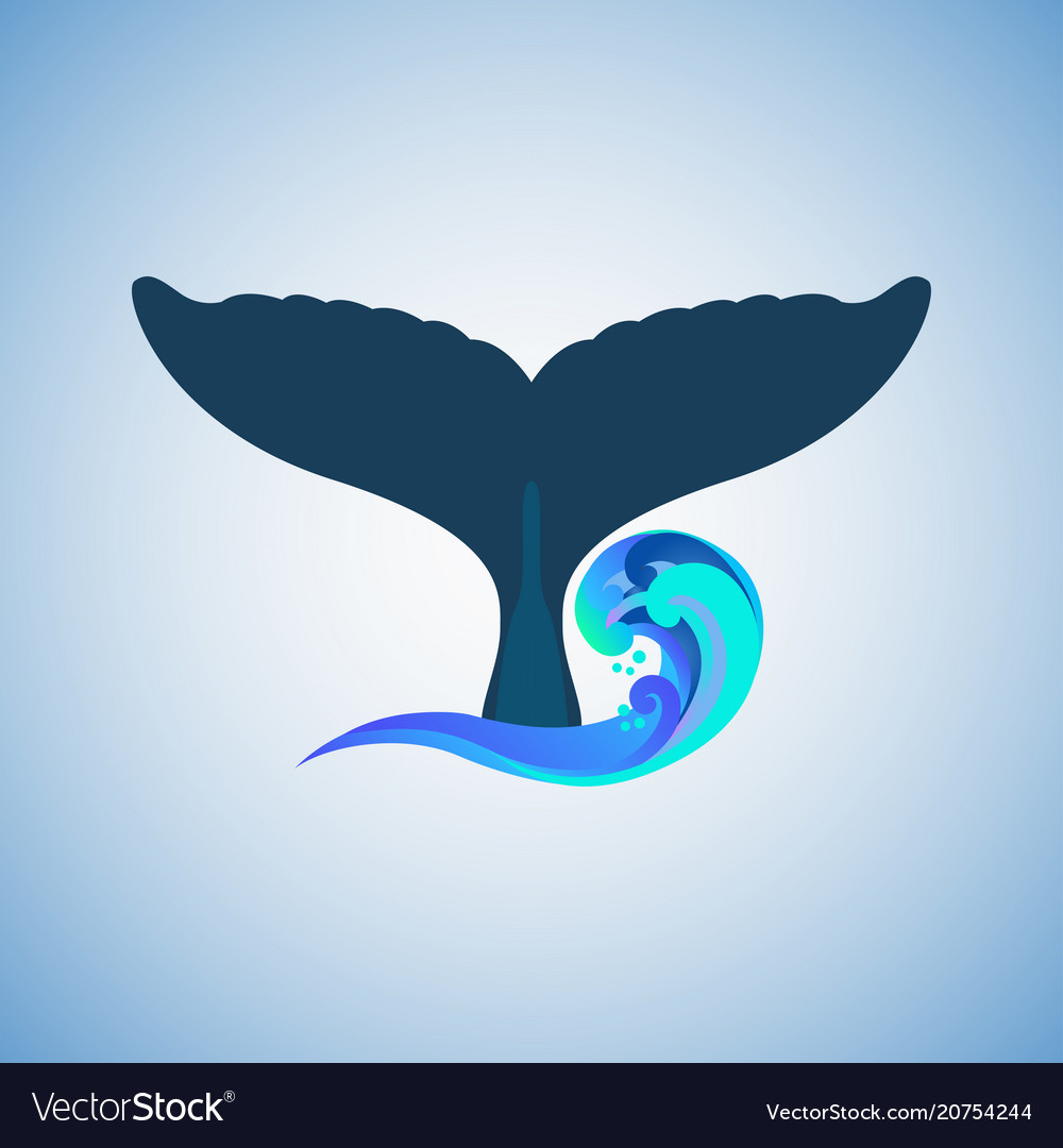 Tail humpback whale logo vector