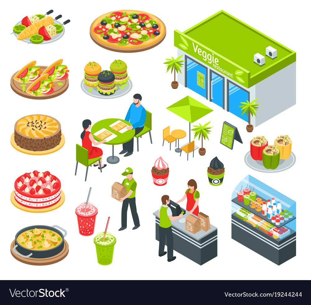 Vegetarian healthy cafe isometric set